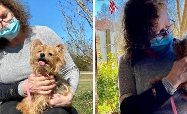 """Illustration : """"13 ans après le vol de leur chien dans leur cour, ils reçoivent un appel de la société qui avait installé la puce électronique !"""""""