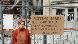 Illustration : 1 semaine après l'effondrement de son immeuble, une femme lance une pétition pour pouvoir sauver son chat bloqué dans le bâtiment voisin