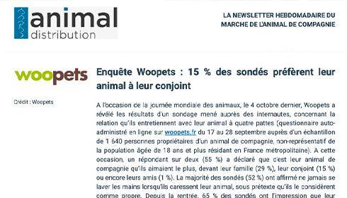 Enquête Woopets : 15% des sondés préfèrent leur animal à leur conjoint