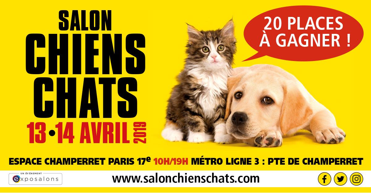 Jeu concours Salon Chiens Chats du 29 mars au 7 avril 2019